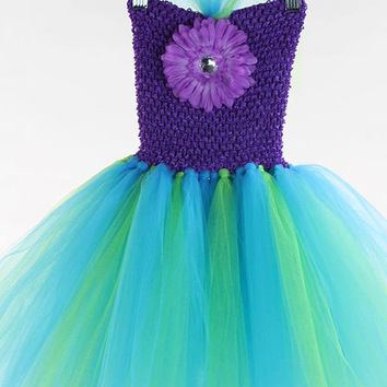 Little Mermaid Ariel tutu dress inspired  purple turquoise costume flower girl first birthday 12-18 18-24  2T 3T 4T 5 6 7 8 9 10 11 12 14
