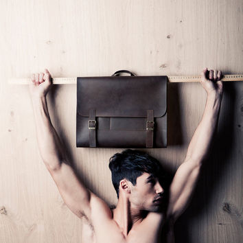 Men's retro satchel bag. brown student backpack for men, School bag, leather bag, gift for him, laptop bag, messenger briefcase