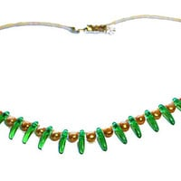 Bead Necklace, Green Spike Beads, Orange Pearls, Orange Green Necklace, Spring Colors, Gift For Her, Anniversary Gift, Birthday Gift, Gift