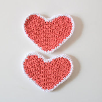 Crochet Heart Coasters, Home Decor, Spring Decor, Tangerine Coasters, Cotton Coasters, Wedding Decor, Wedding Coasters, Coaster Set
