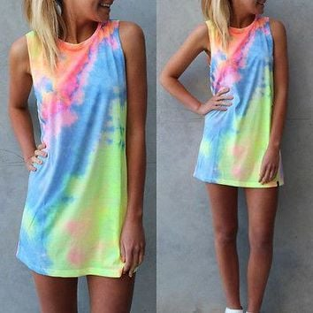 2017 New Summer Sexy Women Sleeveless Party rainbow Dress Mini Dress tie Dye Beach Dress