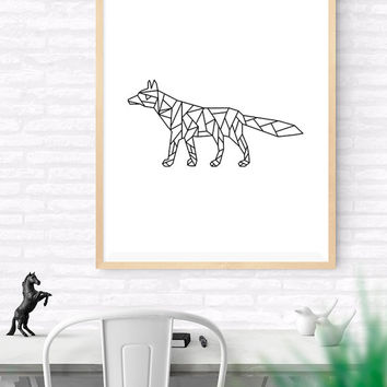 Geometric Fox, Origami Art, Printable wall art, Geometrical Animal print, Fox Art Print, Modern Fox Art, Nursery kids Art, Woodlands
