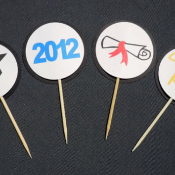 Custom Graduation Cupcake Toppers Choose by HookedonArtsNCrafts
