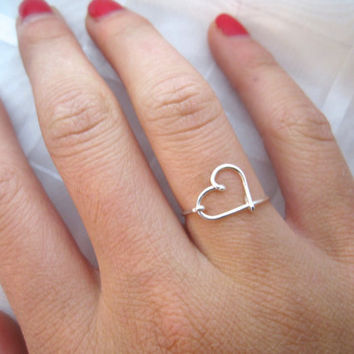 Sterling Silver Heart Ring by DesignedByLei on Etsy