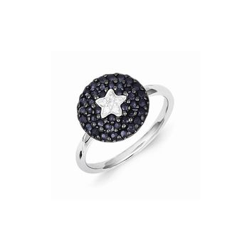 Sterling Silver Diamond & Sapphire Circle Star Ring