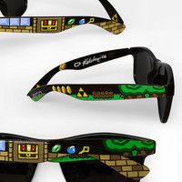 Zelda Sunglasses - Wayfarer sunglasses glasses Legend of Zelda unique hand painted - sword - Triforce - dungeon - video game