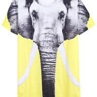 ROMWE 3D Elephant Print Short Sleeves Yellow T-shirt