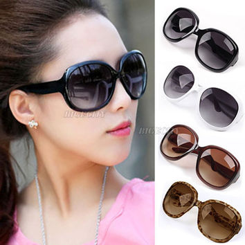 New Summer Fashion Use Fashion Hot Womens Ladies Black Brown White Leopard Oversized Sunglasses