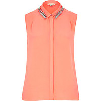 River Island Womens Coral sleeveless embellished collar shirt