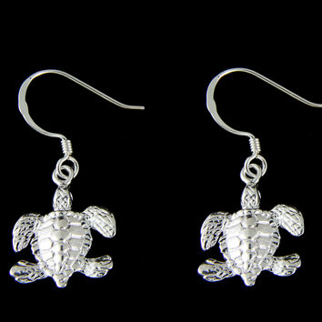 STERLING SILVER 925 SHINY HAWAIIAN SEA TURTLE LONG WIRE HOOK LEVERBACK EARRINGS