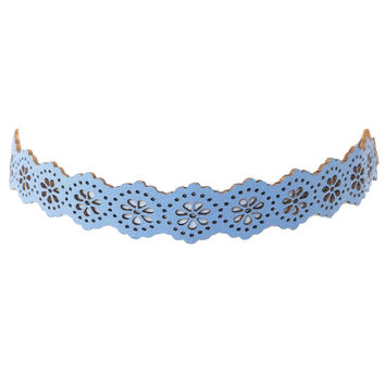 Eyelet Choker Necklace in Baby Blue
