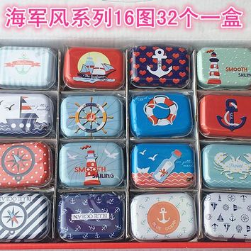 Free ship!1 lot=32pc!the Navy style Mini cover Iron tin case / can/ pencil box / small Kit/candy storage gift box