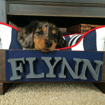 Personalized Small Wooden Dog Bed