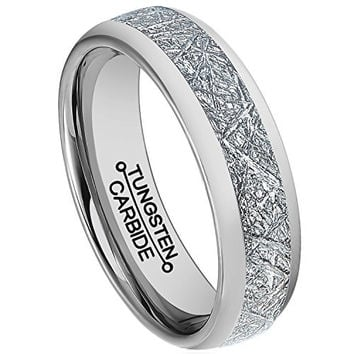 6mm Meteorite Ring Tungsten Carbide Polished Wedding Engagement Band (Platinum)