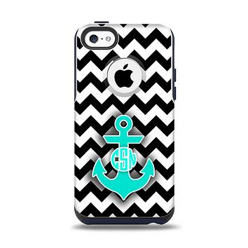 The Teal Green Monogram Anchor on Black & White Chevron Apple iPhone 5c Otterbox Commuter Case Skin Set