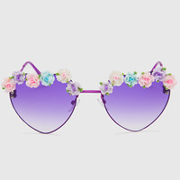 Heart Floral Sunglasses - Purple