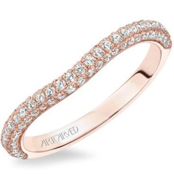 "Artcarved ""Katalina"" Micro Pave Curved Diamond Wedding Ring"