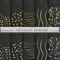 Gold and silver metallic clipart borders for scrapbooking,invites, cards,web design,jewelry making,Digital Collage,Download