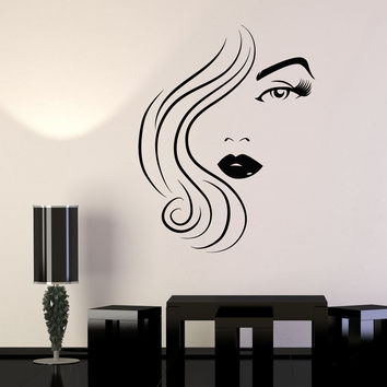 Vinyl Wall Decal Beauty Hair Salon Woman Model Sexy Girl Eye Lips Stickers Unique Gift (1486ig)