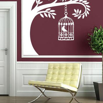 Wall Stickers Vinyl Decal Tree Branch Cage Bird Sings Nightingale Unique Gift (n165)