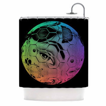 "Roberlan ""HEX Eye Decimal"" Black Green Abstract Pop Art Shower Curtain"