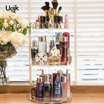 Urijk Acrylic Makeup Organizer Desk Accessories Organizer Jewelry Storage Boxes Plastic Box Make up Organizer for Cosmetics