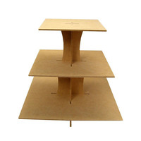 Wood Cupcake Stand Square shape / 3 Tiers /  Durable / Unfinished / for Decoupage projects / Celebrations Parties