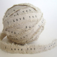 Personalized Ribbon 2 YARDS Handmade I Love You by TheLonelyHeart