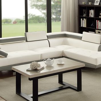 2 pc Zorba modern style white and light grey leather like vinyl sectional sofa with adjustable headrests