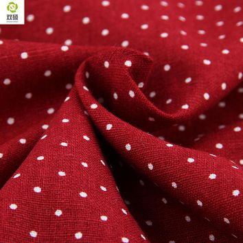 New Free Shipping  White Dots On Red Linen  Fabric For Tablecloths Cushion Pillow Cotton 140*50cm M20