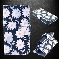 Daisy Flower Leather Phone Wallet Case