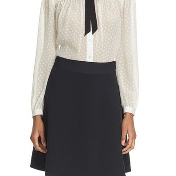 kate spade new york clipped chiffon bow blouse   Nordstrom