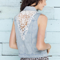 Jun & Ivy Crochet & Denim Vest