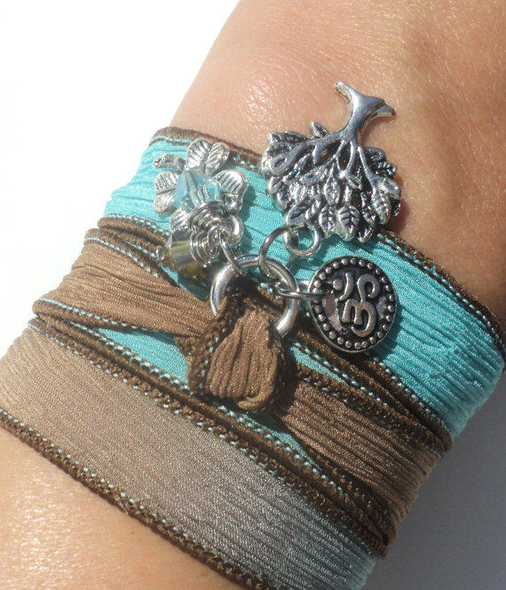 Tree of Life Silk Wrap Bracelet Om Jewelry Yoga Namaste Mother Nature Anklet Necklace Earthy Unique Gift Under 50 Item S16