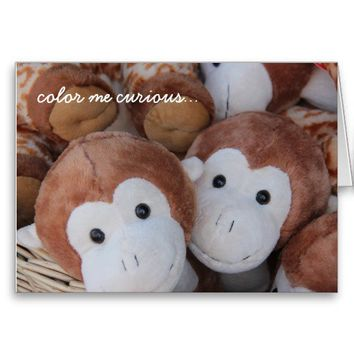 Funny Belated Birthday, Curious George Monkey Card from Zazzle.com
