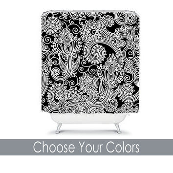 Shower Curtain CUSTOM You Choose Colors Black White Paisley Floral Swirl Bathroom Bath Polyester Made in the USA