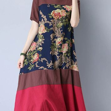 Streetstyle  Casual Short Sleeve Round Neck Color Block Printed Maxi Dress