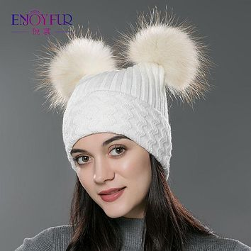 Winter brand new fur beanies hat for women knitted wool cotton hat big  fox raccoon fur pompom Skullies cap parent  child cap
