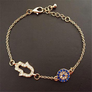 Lemon Value Fashion Charms Hamsa Hand Crystal Bracelets Vintage Evil Eye Rhinestone Bracelet Women Jewelry