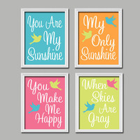 Bird Birdie Pink Lime Orange Aqua You Are My Sunshine Quote Nursery Song Print Artwork Set of 4 Prints Wall Decor Art Picture