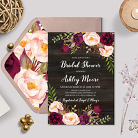 Rustic Floral Burgundy Bridal Shower Editable Invitation Template Set, Printable Boho Bridal Party Invite, Recipe, Digital Download TEMPLETT