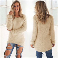 S-XL Beige Fluff Long Sleeve Round Hem Casual Fashion Pullovers All Match Autumn Warm Sweater Women Jumper