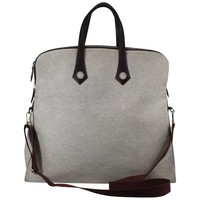 Hermes Heebo Travel Bag in canvas and leather with shoulder strap