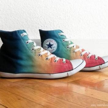 94878f666ca381 CREYON multi colour ombre converse dip dye upcycled vintage sneakers converse  all star lite