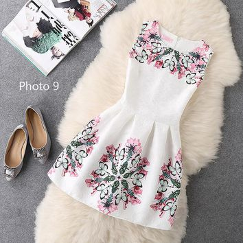 Hot sale sexy show thin sleeveless print dress-3