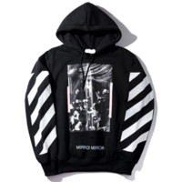 OFF-WHITE Women/Men Fashion Long Sleeve Print Pullover Sweater Sweatshirt Hoodie