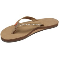 Women's Rainbow Sandals Single Layer Narrow Strap White Crystal
