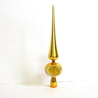 Vintage Christmas tree topper ornament / gold yellow shiny ornament