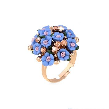 SHUANGR Fashion Beautiful Ceramic Flower Ring for Women Adjustable Wedding Rings Jewelry 7 Colors Summer Style Rings