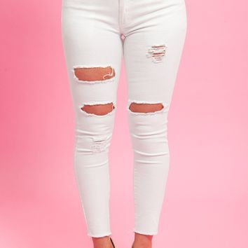 Wendy Distressed Jeans Off White - RESTOCKED